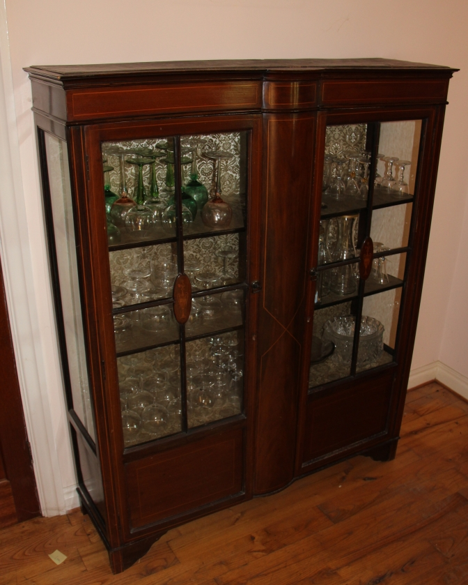 WH0025 – Glass Panel Two Door Edwardian Mahogany Inlaid Antique Display Case – For Sale on Ebay